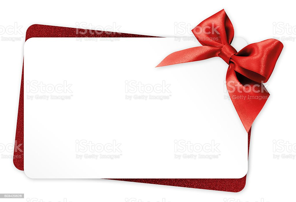 Gift Card With Red Ribbon Bow Isolated On White Background Stock
