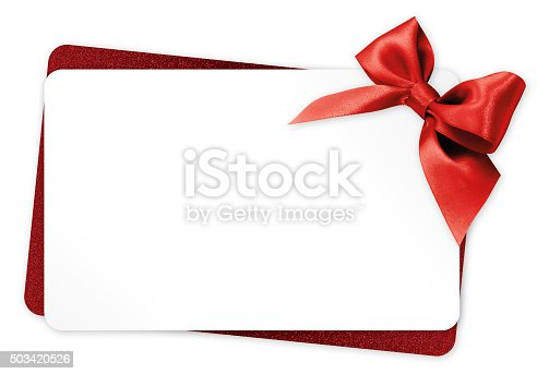 istock gift card with red ribbon bow Isolated on white background 503420526