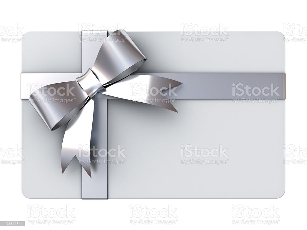 Gift card with silver ribbons and bow stock photo