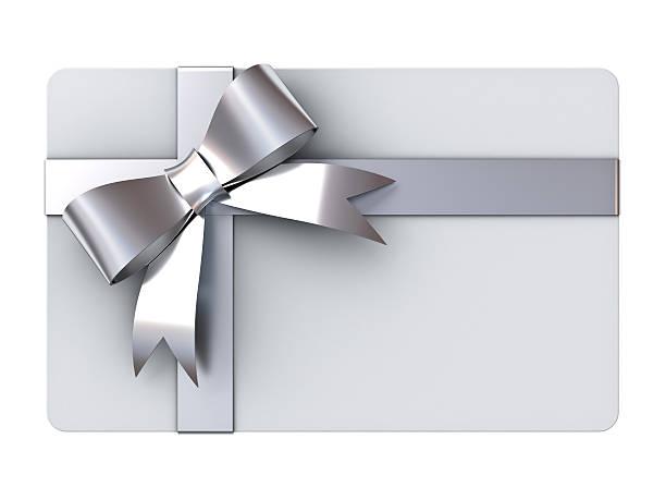 karte mit geschenk-bänder und schleifen silber - gutschein weihnachten stock-fotos und bilder
