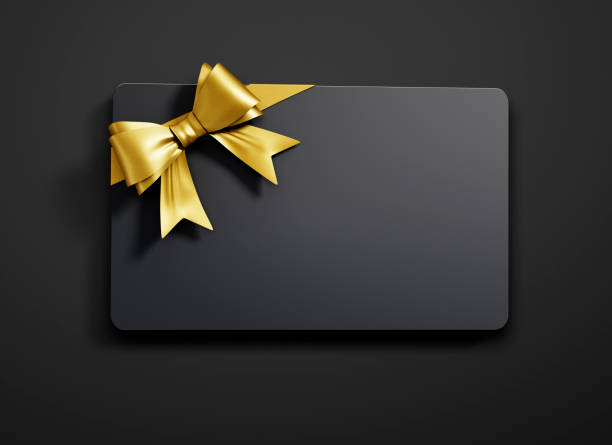 Gift Card with tied Bow stock photo