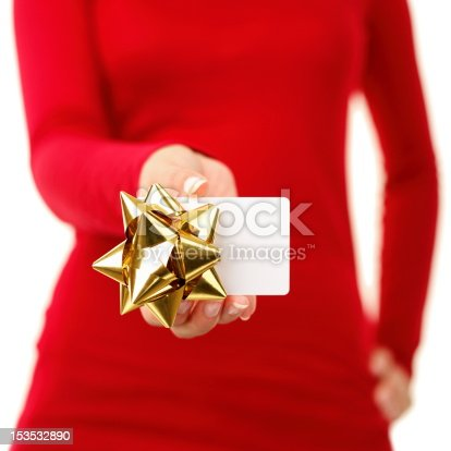 istock Gift card - woman showing sign 153532890