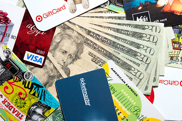Gift cards and money stock photo