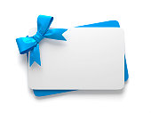 istock Gift Cards With Blue Colored Bow 1280934412