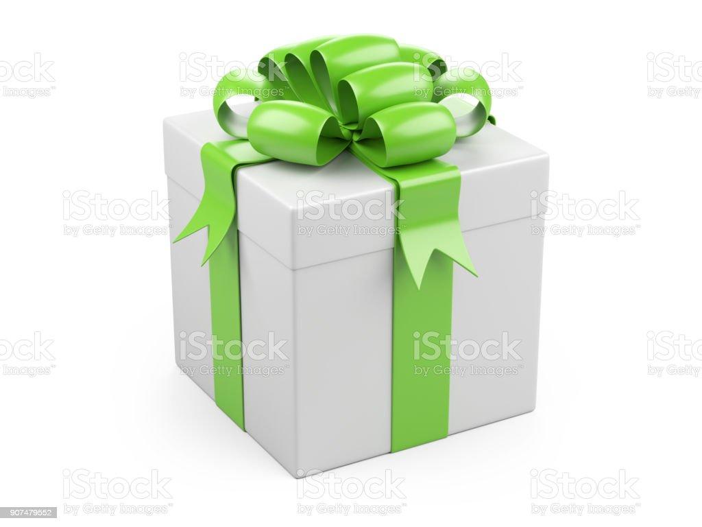 Geschenkkarton Weihnachten.Geschenkkarton Weihnachten Mit Grossen Grunen Bogen Stockfoto