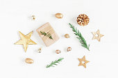 istock Gift, christmas decoration, cypress branches, pine cones 628288492