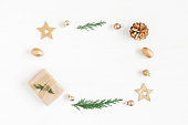 istock Gift, christmas decoration, cypress branches, pine cones 636423786