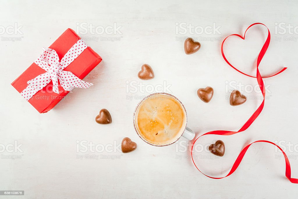 Gift, coffee and sweets for Valentine's day stock photo