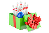 Gift concept, set of bowling inside gift box. 3D rendering
