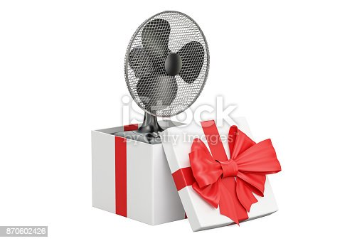 istock Gift concept, table fan inside gift box. 3D rendering isolated on white background 870602426