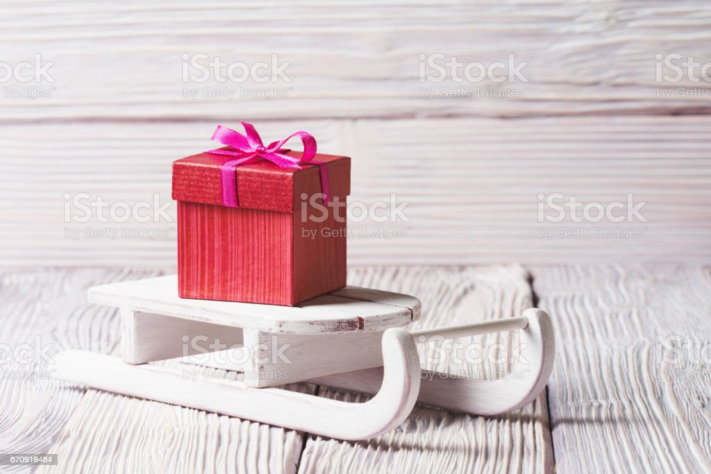 Gift delivery with Santa\'s sledge, Christmas and New Year consept