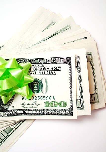 gift dollars stock photo