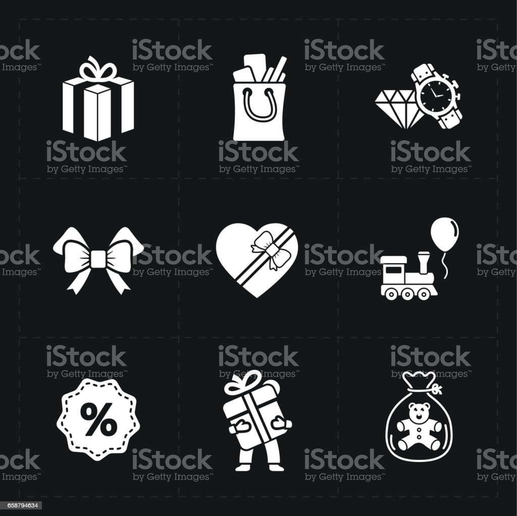 Gift flat contour shop icon set on black stock photo