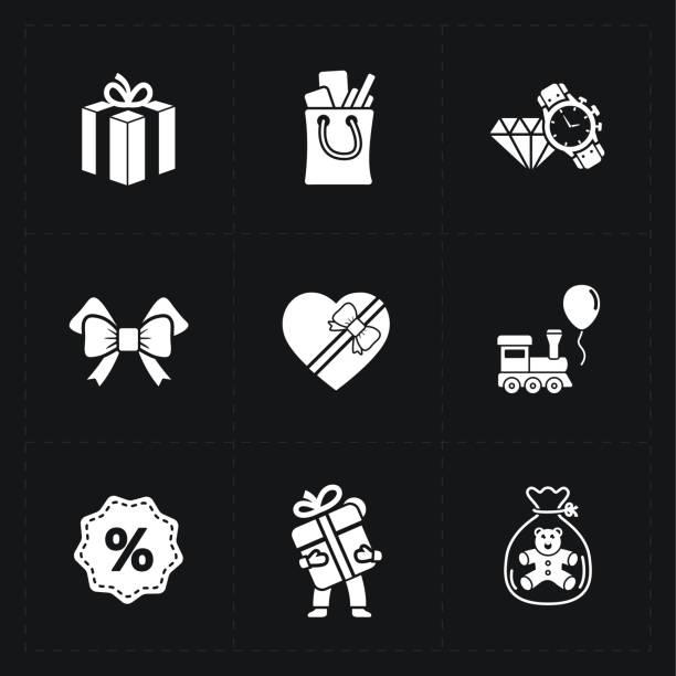 フラットコンターギフトショップアイコンセットにはブラック - アイコン プレゼント ストックフォトと画像