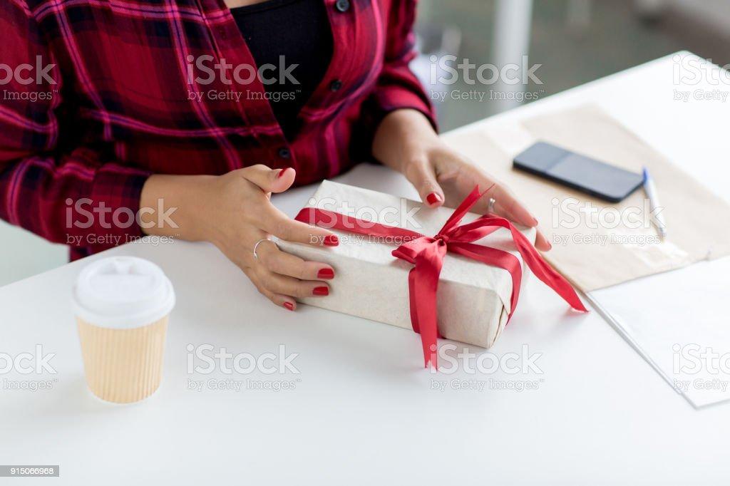 Birthday Present Gift Box Human Hand Ribbon