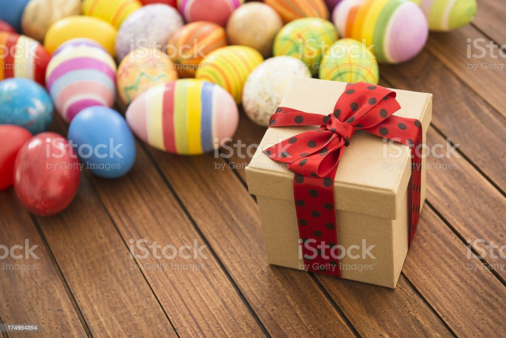 Gift for easter with egg background on wood royalty-free stock photo