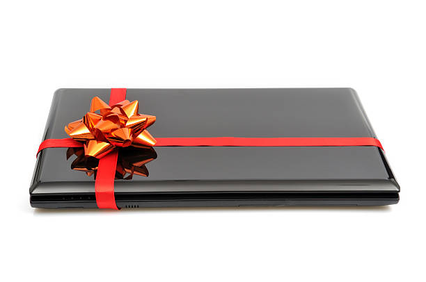 Gift - laptop stock photo