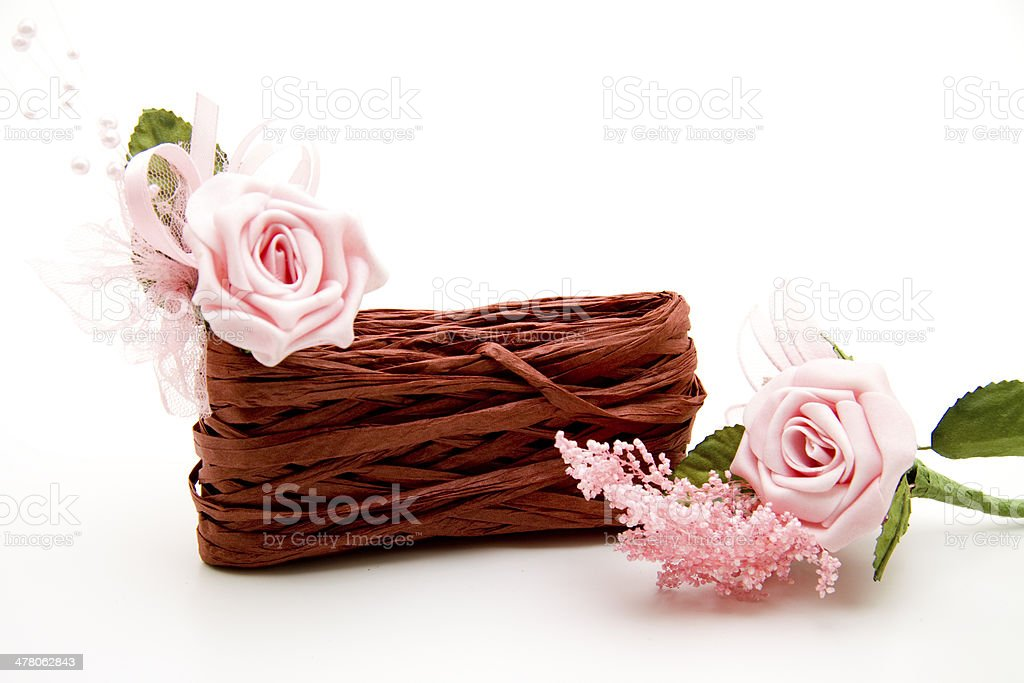 Gift loop with pink roses royalty-free stock photo