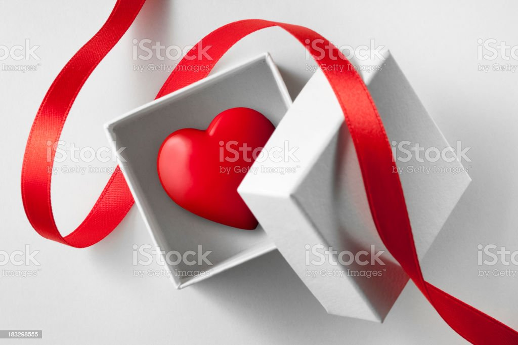 Gift of love. Small box with heart. royalty-free stock photo