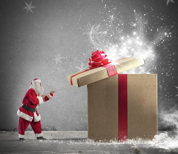 regalo de santaclaus - ironía fotografías e imágenes de stock