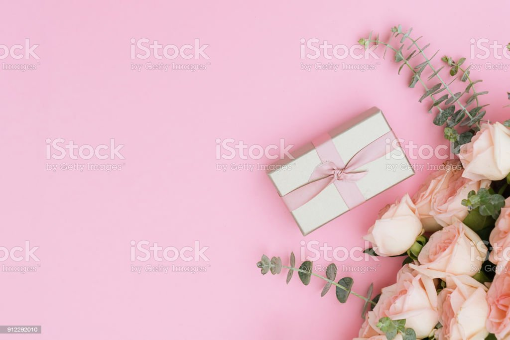 gift or present box and flowers stock photo