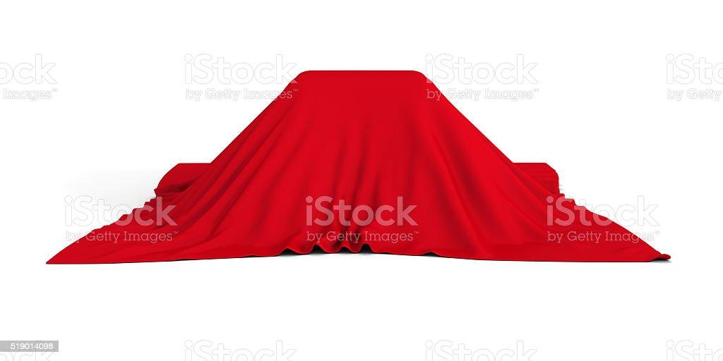 Geschenk oder überraschen Behälter mit rotem Tuch bedeckt – Foto