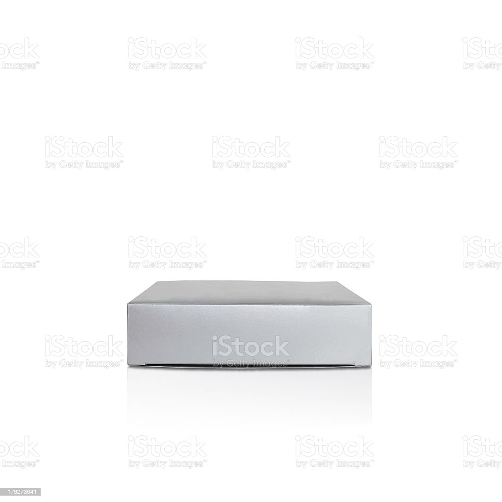 Gift paper box isolated with reflection, silver color stock photo