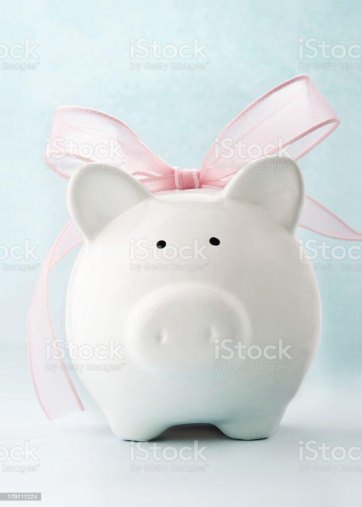 Gift piggy bank stock photo