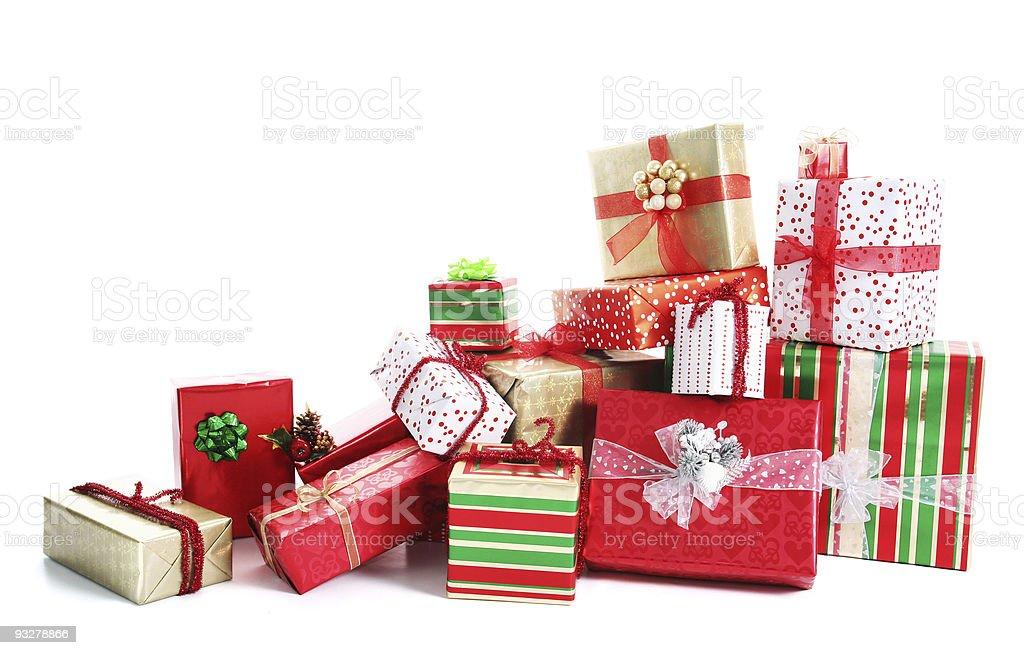 Gift pile stock photo