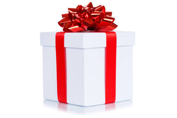 Gift present christmas birthday wedding wish white box isolated Gift present christmas birthday wedding wish white box isolated on a white background birthday present stock pictures, royalty-free photos & images