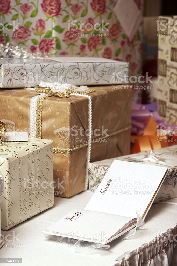 Gift presents at a wedding or birthday party stock photo