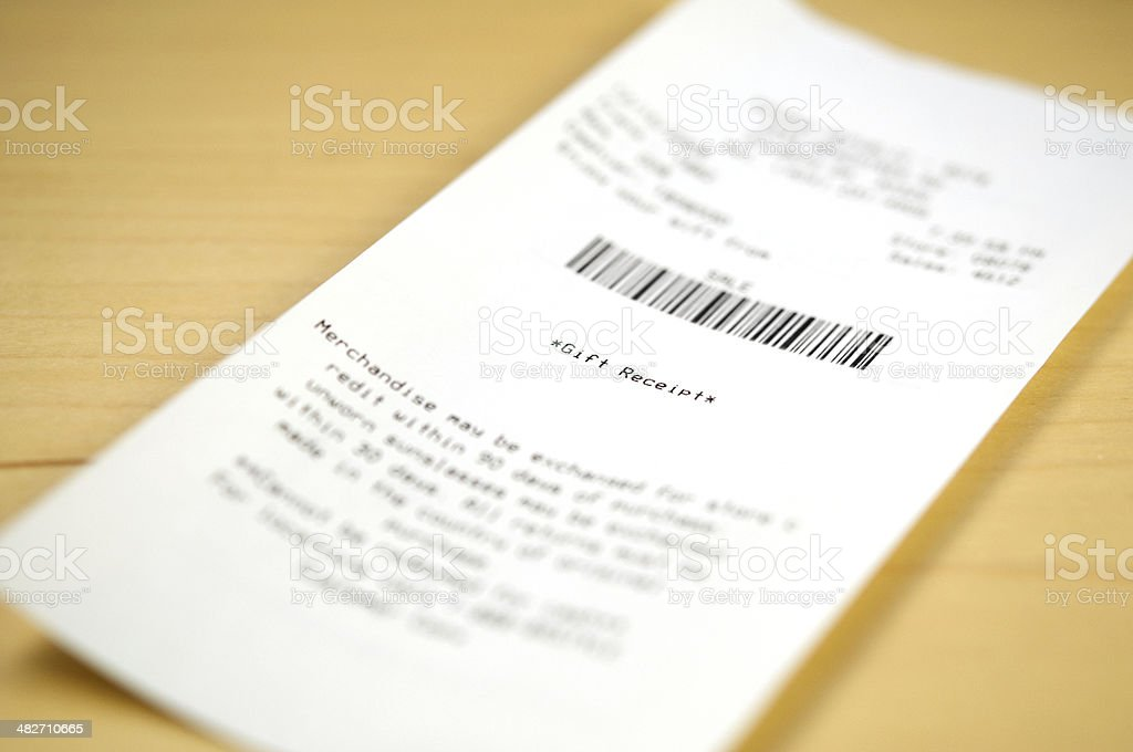 gift receipt stock photo