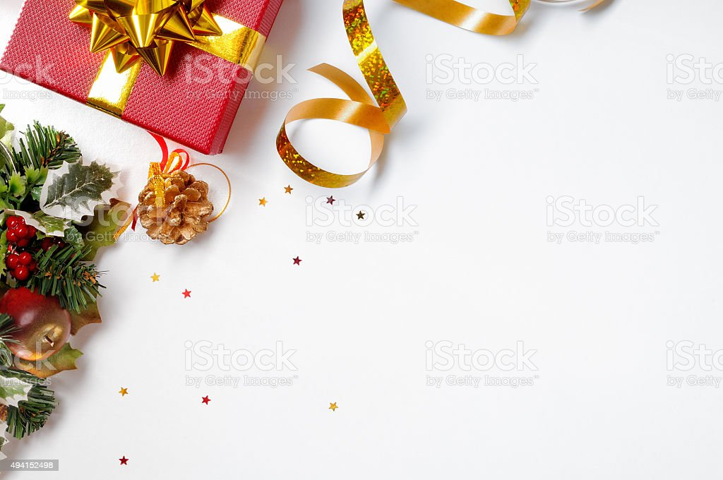 Gift ribbon and floral Christmas decoration to the left diagonal stock photo