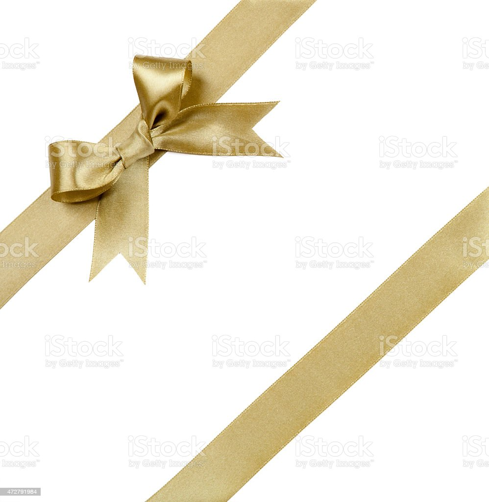 Gift ribbon with bow isolated on white stock photo