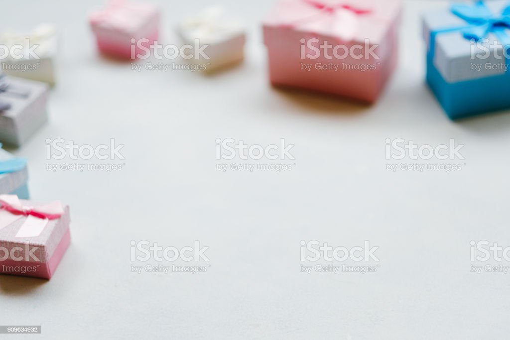 Gift selection on white background. Copyspace concept. Holiday...