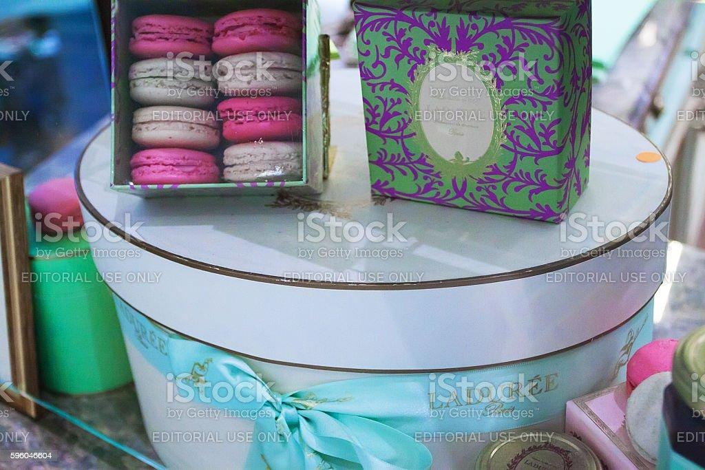 Gift set macaroons from Laduree royalty-free stock photo