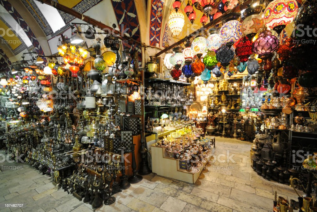 Gift shop in Grand Bazaar in Istanbul, Turkey stock photo