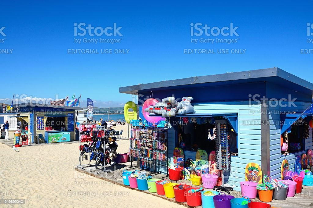 Gift shop on Weymouth beach. stock photo