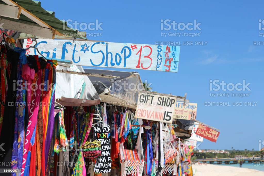 Gift shops at the beach stock photo
