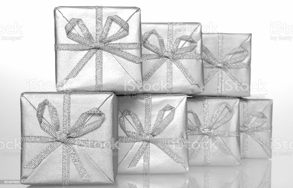 Gift silver box 02 royalty-free stock photo