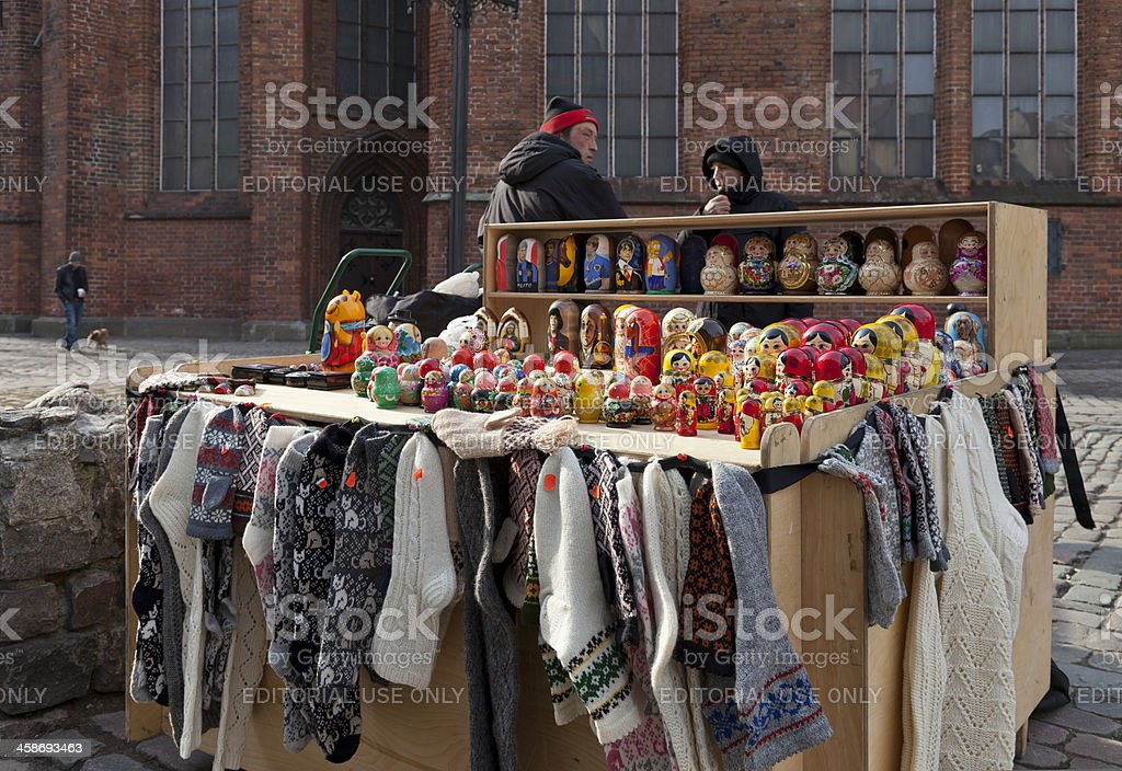 Gift stand near the St. Peter church stock photo