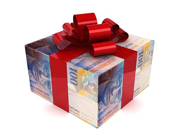Gift swiss franc money concept stock photo