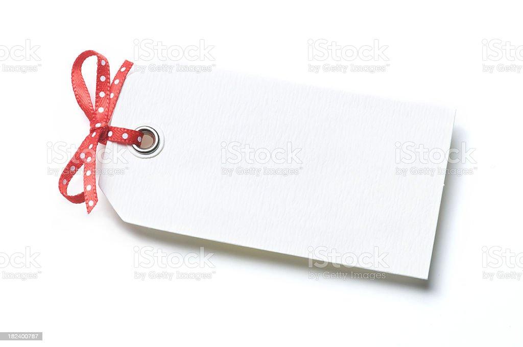 Gift Tag White Background Polka Dot Bow stock photo