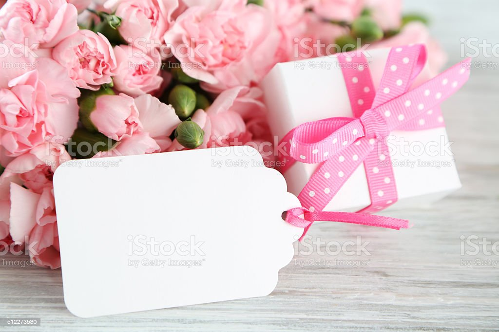 gift tag with flowers stock photo
