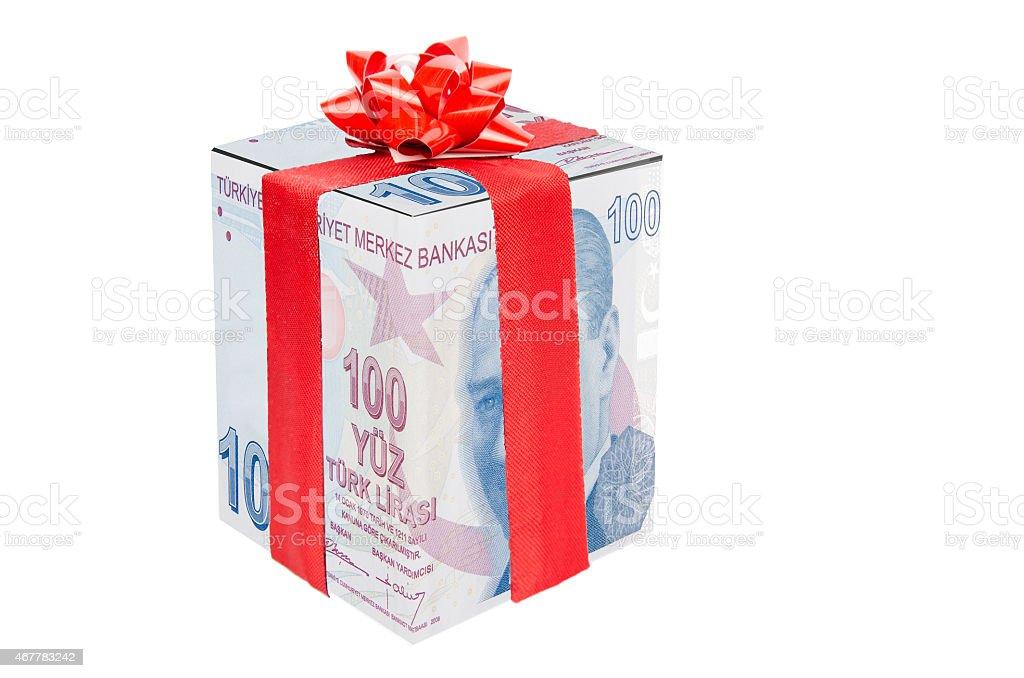 Gift  Turkish Lira stock photo