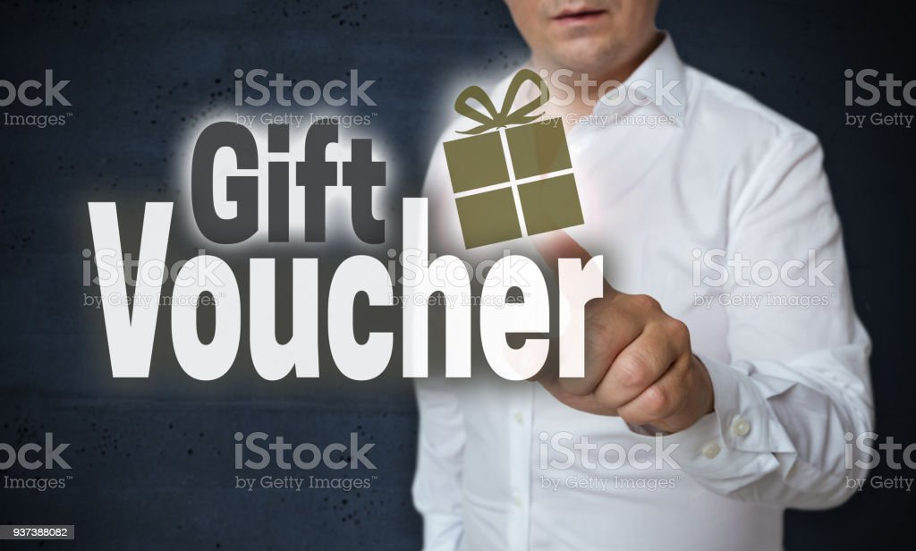 Gift Voucher Touchscreen is operated by man concept.