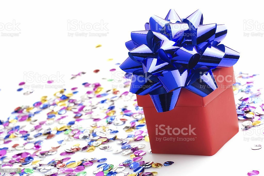 Gift with a blue bow royalty-free stock photo