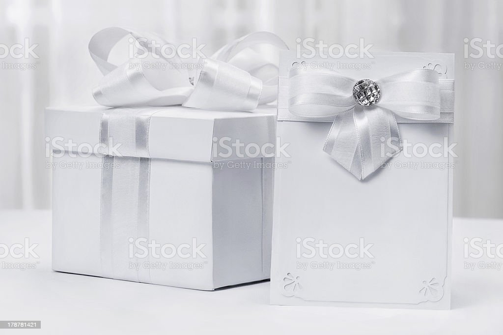 Gift with a postcard royalty-free stock photo