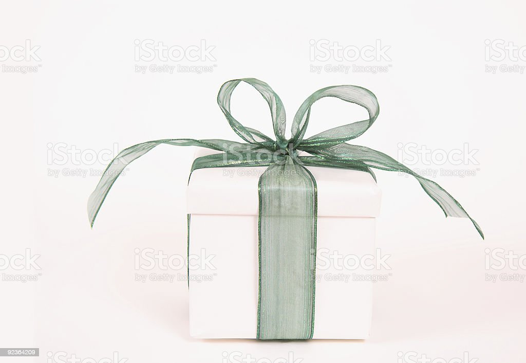 Gift with Green Ribbon royalty-free stock photo