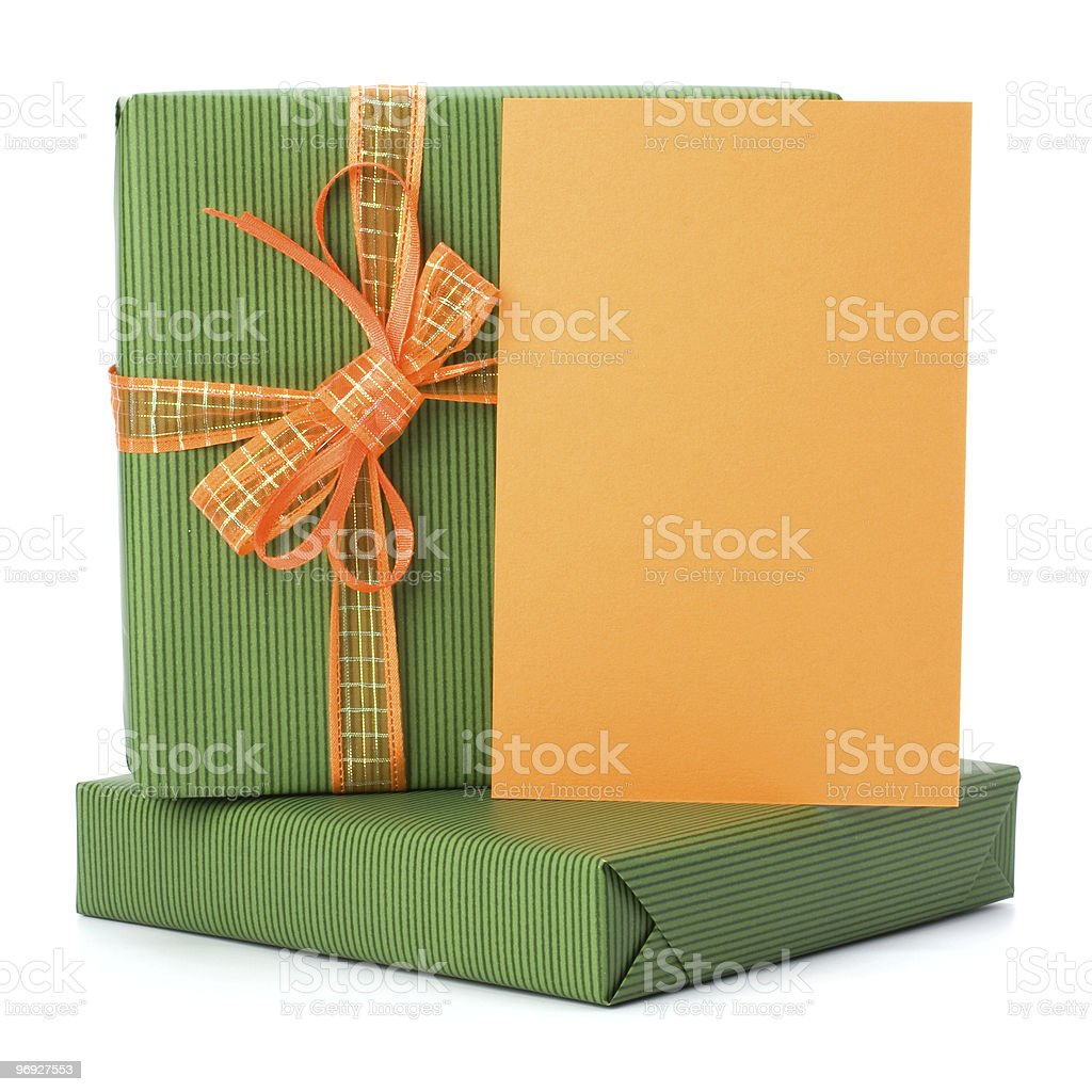 Gift with greeting card royalty-free stock photo